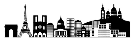 Paris France City Skyline Panorama Black and White Silhouette Clip Art Illustration illustration