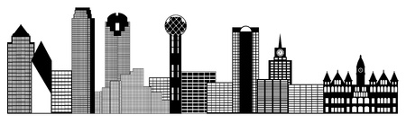 tx: Dallas Texas City Skyline Panorama Black and White Silhouette Clip Art Illustration