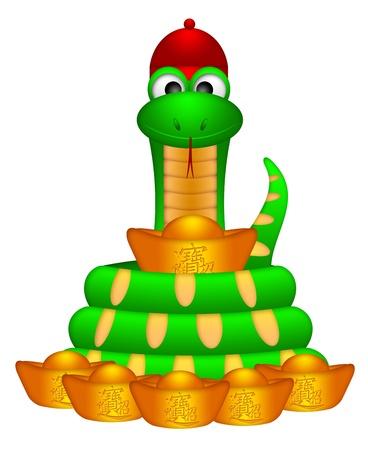 Lindo Año Nuevo chino 2013 Serpiente y lingotes de oro de dinero con el texto Traer Ilustración riqueza y tesoro Foto de archivo