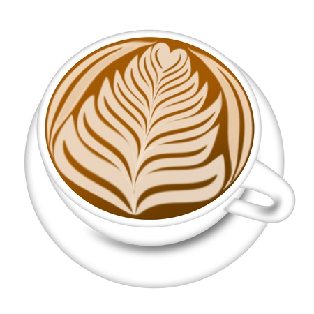Cup of Latte Espresso Drink with Saucer Illustration Isolated on White Background Stock Illustration - 13041254