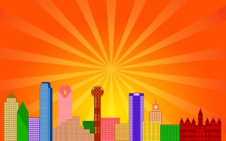 Dallas Texas City Skyline Panorama Color Silhouette with Sun Rays Clip Art Illustration