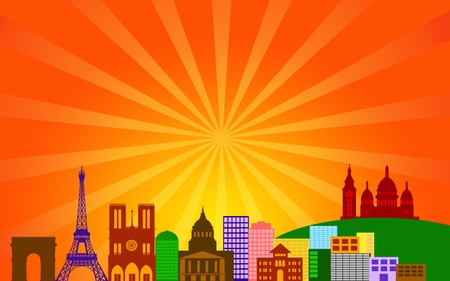 rosetta: Paris France City Skyline Panorama Color Silhouette with Sun Rays Clip Art Illustration