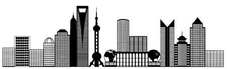 중국 상하이 푸동 도시의 스카이 라인 파노라마 흑백 실루엣 클립 아트 일러스트