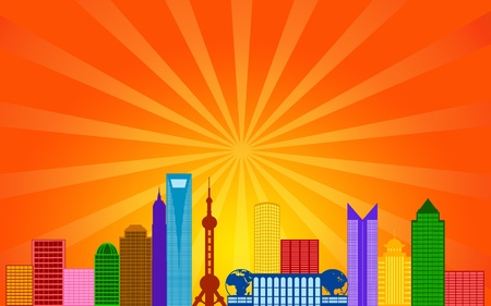 shanghai: Shanghai China Pudong City Skyline Panorama Color Silhouette with Sun Rays Clip Art Illustration