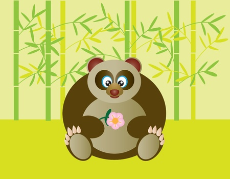Cute Sitting Panda Holding Flower in Bamboo Forest Illustration Stock Illustration - 13135569