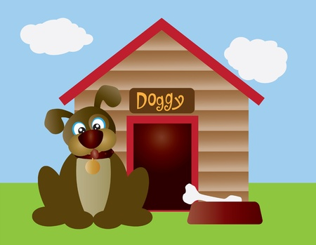 Cute Puppy Dog with Dog Bone in Dish and Dog House Illustration