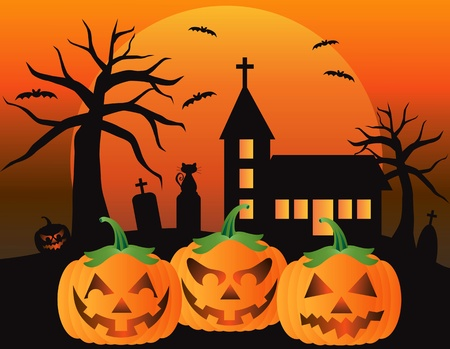 Halloween Jack O Lantern Pumpkins with Church Moon Black Cat and Bats Illustration