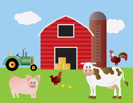 Farm with Red Barn Tractor Pig Cow Chicken Farm Animals Illustration Vettoriali