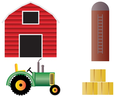 grain storage: Farm with Red Barn Tractor Grain Silo and Hay Bales Illustration Isolated on White Background