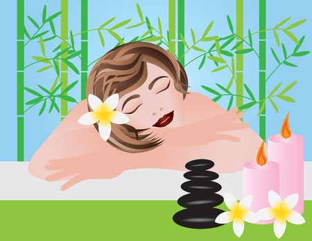 Woman Relaxing in Spa with Candles Black Stones and Frangipani Flowers Illustration