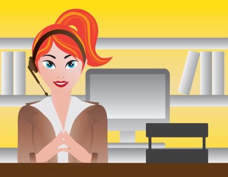 Vrouw Receptionist Operator helpdesk met Computer Illustratie