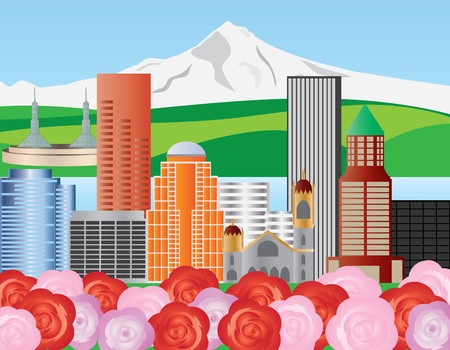 Portland Oregon Skyline with Mount Hood and Roses Illustration Çizim