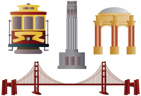 San Francisco Golden Gate Bridge Trolley Coit Tower and Palace of Fine Arts Illustration Vector