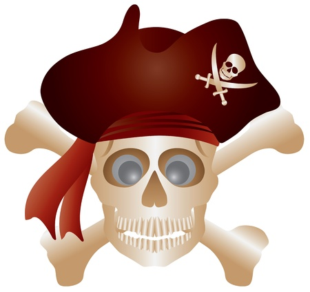 Skull with Pirate Hat and Cross Bones Isolated on White Background Illustration