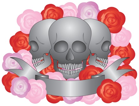 rose tattoo: Three Skulls with Banner and Roses Illustration