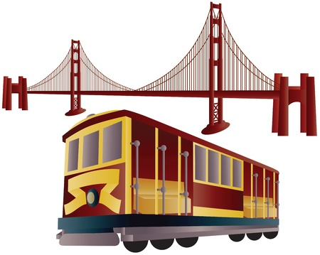 샌프란시스코: 샌프란시스코 케이블카 트롤리와 골든 게이트 브리지 그림 일러스트