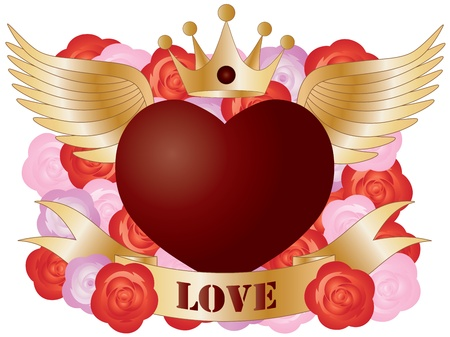 heart with crown: Flying Red Heart with Banner and Roses Illustration