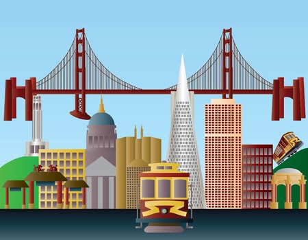 san francisco bay: San Francisco California City Skyline with Golden Gate Bridge Illustration Illustration