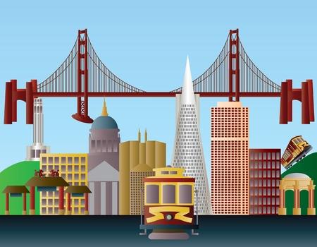 francisco: San Francisco California City Skyline with Golden Gate Bridge Illustration Illustration