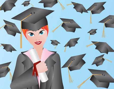 卒業ガウン キャップとディプロマ イラスト女性
