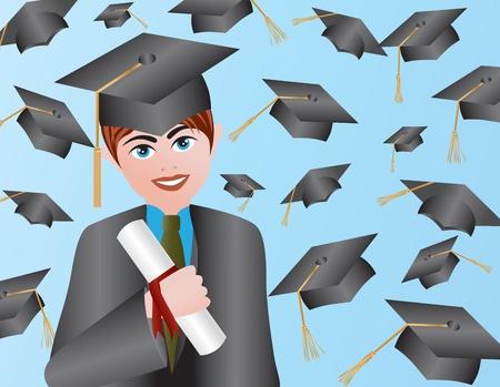 卒業ガウン キャップと卒業証書の図との男性