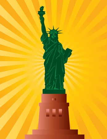 Statue of Liberty on Staten Island in New York City Illustration