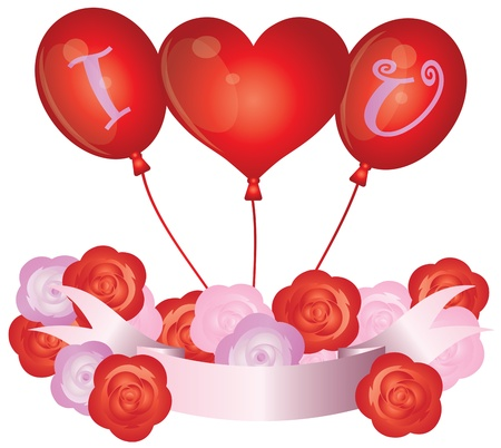 special event: I Love You Heart Balloons with Roses and Banner Illustration Stock Photo