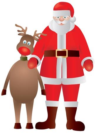 Santa Claus and Reindeer Christmas Portrait Illustration Vector