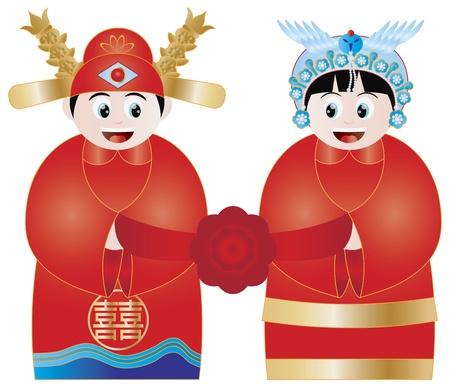 Chinees Bruidspaar in traditionele koninklijke kostuums met Double Happiness Tekst Illustratie Stock Illustratie