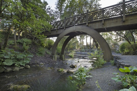 portland: Wooden Bridge Over Stream in Crystal Springs Rhododendron Garden in Oregon Stock Photo