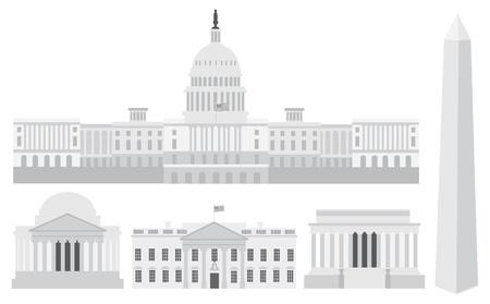 Washington DC, EE.UU. Capitolio Monumento a Jefferson y Lincoln Memorial Ilustración