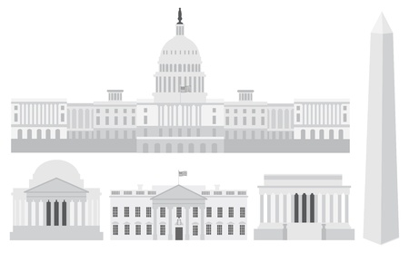 Washington DC US Capitol Building Monument Jefferson and Lincoln Memorial Illustration Vector