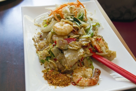 Thai Pad See Ewe Stir Fried Noodles with Sweet Soy Sauce  Prawns Vegetables and Spices Stock Photo - 13647339