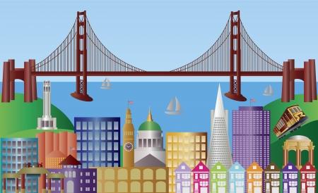골든 게이트 브리지와 랜드 마크 파노라마 그림 샌프란시스코 캘리포니아 도시의 스카이 라인