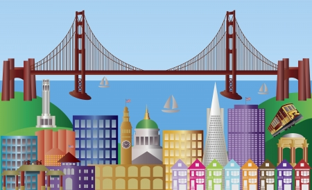 san francisco bay: San Francisco California City Skyline with Golden Gate Bridge and Landmarks Panorama Illustration
