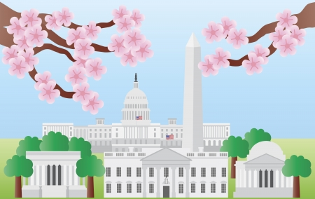 Washington DC US Capitol Building Monument Jefferson and Lincoln Memorial with Cherry Blossoms Illustration Vector