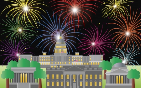 Washington DC US Capitol Building Monument Jefferson and Lincoln Memorial with Fireworks Illustration Vector