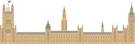 westminster: Palace of Westminster Houses of Parliament with Big Ben Clock Tower in London Illustration