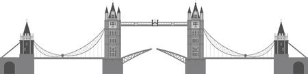 白い背景で隔離されたロンドンのタワー ブリッジの図