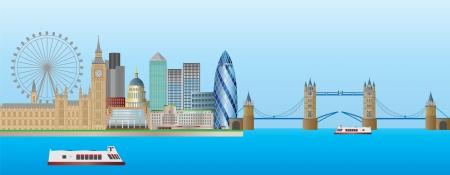 타워 브리지와 웨스트 민스터 궁전, 영국 런던 스카이 라인의 파노라마 그림 일러스트