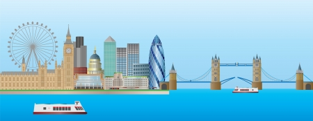 london tower bridge: London England Skyline Panorama with Tower Bridge and Westminster Palace Illustration