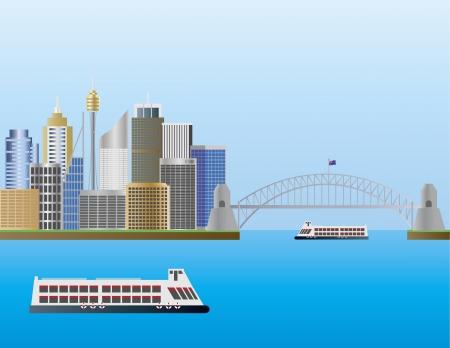 Sydney Australia Skyline Landmarks Harbour Bridge Illustration  イラスト・ベクター素材
