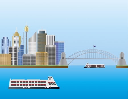 sydney harbour: Sydney Australia Skyline Landmarks Harbour Bridge Illustration Illustration