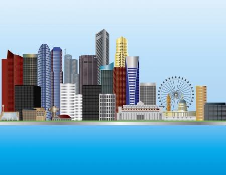 Singapore City an der Mündung des Singapore River Skyline Illustration