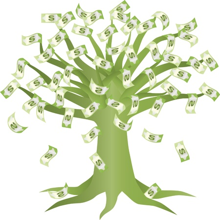 grow money: Money Growing on Green Tree Illustration Isolated on White Background
