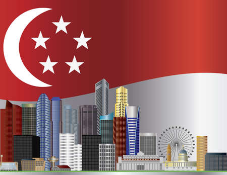 singapore city: Singapore City Skyline with Singapore Flag Background Illustration Editorial