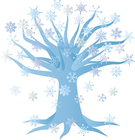 Christmas Winter Tree with Snowflakes Illustration Isolated on White Background Vector