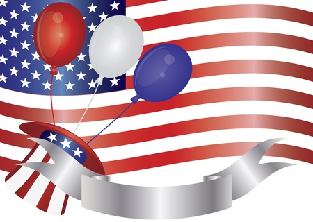 special event: Fourth of July Balloons Hat Banner and US Flag Illustration Illustration