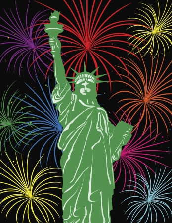 Statue of Liberty on Staten Island in New York City with Fireworks Background Illustration
