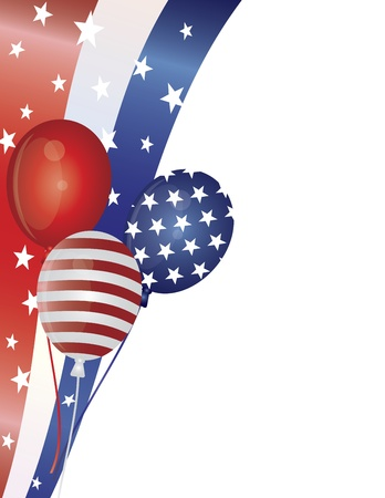 4th of July Stars and Stripes Balloons with Swirls Border Illustration